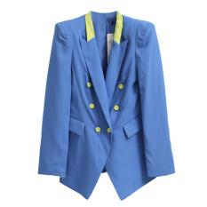 ราคา ตัดมาตรฐานซีรีส์ใหม่กระดุมสองแถวแจ็คเก็ตสั้นสบายๆ สีฟ้า ถูก