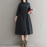 กระโปรงเสื้อย้อนยุคชุดเดรสหญิงยาวหลวม สีเทาและสีดำ ใหม่ล่าสุด