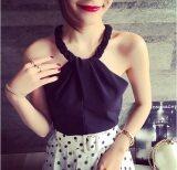 ขาย เซ็กซี่ฤดูร้อนแขนกุดเชือกแขวนคอเสื้อชีฟอง สีดำ ฮ่องกง
