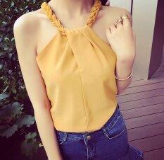 ซื้อ เซ็กซี่ฤดูร้อนแขนกุดเชือกแขวนคอเสื้อชีฟอง ขิงสีเหลือง ฮ่องกง