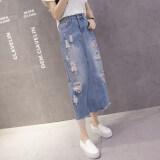 ขาย ซื้อ ออนไลน์ ฤดูร้อนหญิงใหม่เกาหลีแพคเกจบางคำกระโปรงผ้ายีนส์กระโปรง แสงสีฟ้า