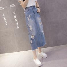 ทบทวน ฤดูร้อนหญิงใหม่เกาหลีแพคเกจบางคำกระโปรงผ้ายีนส์กระโปรง แสงสีฟ้า