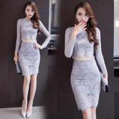 ราคา เดรสลูกไม้เสื้อกระโปรงแยกชิ้น ทรงสลิมเน้นสะโพก สไตล์สาวเกาหลี สีเทาอ่อน สีเทาอ่อน ราคาถูกที่สุด