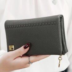 ส่วนลด ญี่ปุ่นและเกาหลีใต้หนังนุ่มหญิงซิปกระเป๋าสตางค์นางสาวกระเป๋าสตางค์ สีเทาเข้ม Unbranded Generic ฮ่องกง