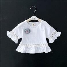 ซื้อ เกาหลีเด็กทารกเสื้อสาวแขนสั้นเสื้อยืด สีขาว ฮ่องกง