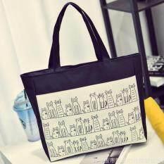 ขาย กระเป๋าถือ กระเป๋าผ้าแคนวาส กระเป๋าสะพายข้าง สีดำ ผู้ค้าส่ง