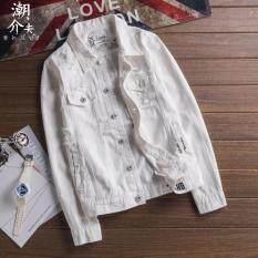 ขาย ซื้อ ออนไลน์ เสื้อเกาหลีเสื้อกันหนาวคาวบอยชายตัวอักษร สีขาว