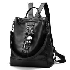 ราคา กระเป๋าหนัง หญิง ใช้ได้ 2 แบบ สะพายหลัง สะพายข้าง สไตล์เกาหลี สีดำ กับหมี สีดำ กับหมี ราคาถูกที่สุด