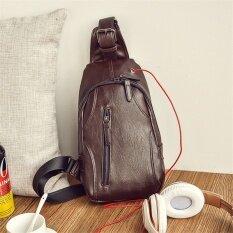 ขาย ซื้อ กระเป๋าสะพายสบายกระเป๋าหน้าอกหนังผู้ชาย สีน้ำตาล ใน ฮ่องกง