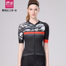 จักรยานแขนสั้นเสื้อขี่เสื้อผ้า หน้ากากสีดำสีแดงเสื้อ หญิง เป็นต้นฉบับ