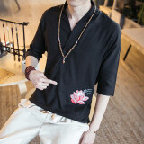 ซื้อ ลมจีนดีขึ้นเสื้อผ้าจีนผ้าลินินแขนเสื้อ สีดำ
