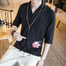 ขาย ลมจีนดีขึ้นเสื้อผ้าจีนผ้าลินินแขนเสื้อ สีดำ เป็นต้นฉบับ