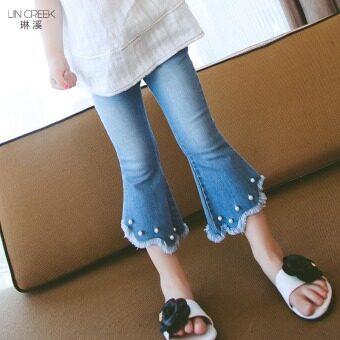 กางเกงผ้ายีนส์ก้นระฆังใหม่เด็ก (แสงสีฟ้า)