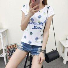 ราคา หญิงสาวใหม่พิมพ์เสื้อแขนสั้นหลวมเสื้อสบาย ๆ เสื้อฤดูร้อนแบบสบาย ๆ เสื้อยืดสีขาว Unbranded Generic