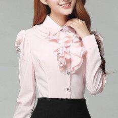 ขาย เกาหลีหญิงแขนยาวบางอารมณ์ชีฟองเสื้อลูกไม้สีขาวเสื้อ สีชมพู Unbranded Generic ผู้ค้าส่ง