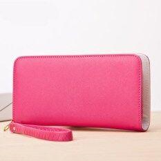 ซื้อ คลัทช์กระเป๋าเกาหลีกระเป๋าสตางค์สีทึบซิป ดอกกุหลาบสีแดง ฮ่องกง