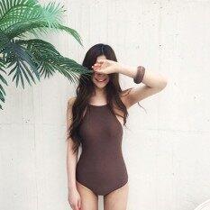 ขาย ซื้อ บิกินี่ทางปัญญาสีทึบใหม่เป็นชุดว่ายน้ำบางๆ กาแฟสี ฮ่องกง