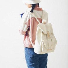 ซื้อ ฮาราจูกุเดินทางถุงสดกระเป๋าเป้ผ้าใบวิทยาเขตสาว สีขาว Unbranded Generic ออนไลน์