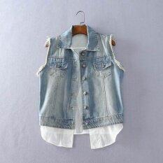 ราคา ผ้ายีนส์ปกซักผ้าเสี้ยนเสื้อกั๊กเสื้อ แสงสีฟ้า Unbranded Generic ฮ่องกง