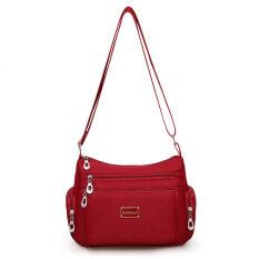 ราคา ราคาถูกที่สุด กระเป๋าผู้หญิงสะพายแฟชั่นสะพายไหล่ทำจากผ้าแคนวาส ไวน์แดง ไวน์แดง