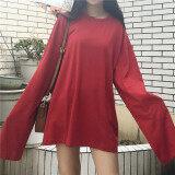 ราคา หลวมง่ายสีทึบหญิงฤดูใบไม้ผลิและฤดูใบไม้ร่วงสีขาวเสื้อ Bottoming เสื้อยืด สีแดง ออนไลน์