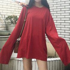หลวมง่ายสีทึบหญิงฤดูใบไม้ผลิและฤดูใบไม้ร่วงสีขาวเสื้อ Bottoming เสื้อยืด สีแดง เป็นต้นฉบับ
