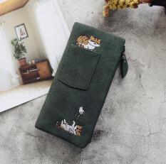 ทบทวน Kiss กระเป๋าสตางค์ผ้าใบสตรีเลียนแบบปัก สีเขียว Kiss Me