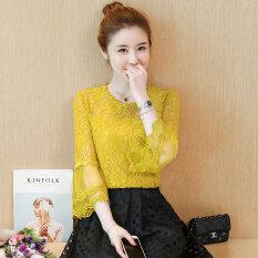 ราคา เกาหลีหญิงฮอร์นแขนกลวงเสื้อเสื้อลูกไม้ สีขาว เป็นต้นฉบับ Unbranded Generic