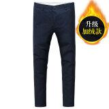 ซื้อ กางเกงขายาว ทรงเล็ก สไตล์เกาหลี 2017 สีน้ำเงินเข้ม บวกกำมะหยี่