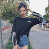 ซื้อ ฮาราจูกุแขนเกาหลีลมเสื้อยืดเย็บตัวอักษร สีดำ ออนไลน์ ฮ่องกง