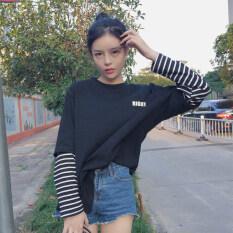 ซื้อ ฮาราจูกุแขนเกาหลีลมเสื้อยืดเย็บตัวอักษร สีดำ ถูก ฮ่องกง