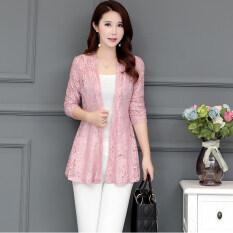 ทบทวน หญิงฤดูใบไม้ผลิและฤดูใบไม้ร่วงลูกไม้เสื้อสเวตเตอร์ถักเสื้อบาง สีชมพู Unbranded Generic