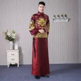 ขาย เจ้าบ่าวจีนชายมังกรและอินทผลัมชุดขนมปังปิ้งเสื้อผ้าชุดแต่งงาน ม่วงลึก ใหม่