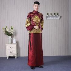 ขาย เจ้าบ่าวจีนชายมังกรและอินทผลัมชุดขนมปังปิ้งเสื้อผ้าชุดแต่งงาน ม่วงลึก ใน ฮ่องกง