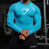 ราคา เสื้อยืดบุรุษแขนเสื้อยาวกีฬาเข้าทรงสไตล์เกาหลี สีฟ้า สีใหม่ ใหม่