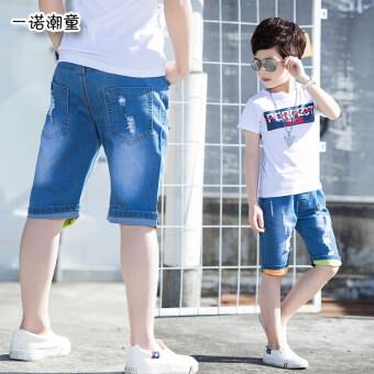 Review กางเกงยีนส์เด็กชาย ยาว 7 ส่วน แฟชั่น (สีน้ำเงินเข้ม) (สีน้ำเงินเข้ม)
