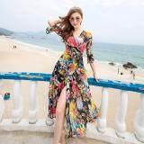 ชีฟองชายทะเลฤดูร้อนหญิงชุดกระโปรงชุดโบฮีเมียน สี เป็นต้นฉบับ