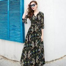 ราคา ชีฟองชายทะเลฤดูร้อนหญิงชุดกระโปรงชุดโบฮีเมียน ดอกไม้สีดำ เป็นต้นฉบับ