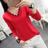 ราคา เสื้อยืดแขนยาวผ้าฝ้ายแท้ คอวี ผู้หญิง สไตล์เกาหลี สีแดง สีแดง Unbranded Generic ใหม่