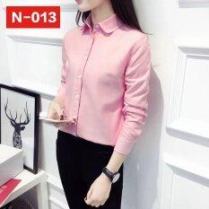 ขาย เกาหลีหญิงแขนยาวเสื้อคอปกเสื้อตุ๊กตาเสื้อฟอร์ด สีชมพู ออนไลน์