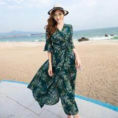 ราคา ชีฟองชายทะเลฤดูร้อนหญิงชุดกระโปรงชุดโบฮีเมียน สีเขียว ใหม่