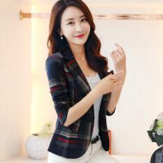 ซื้อ เสื้อสูทสั้นเข้ารูป ผู้หญิง สไตล์เกาหลี ตารางสีแดง ตารางสีแดง ถูก ใน ฮ่องกง