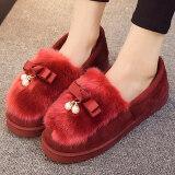 ราคา ร่มเกาหลีหญิงหนักต่ำสุดในฤดูใบไม้ร่วงและฤดูหนาวเดือนของรองเท้ารองเท้าแตะผ้าฝ้าย ไวน์แดง ใหม่
