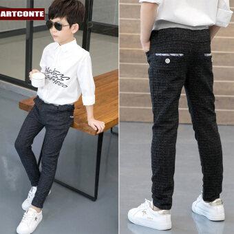 Zhongda อังกฤษสลิมเด็กชายเด็กกางเกงกางเกงบริสุทธิ์ (เถาดอกไม้กระเป๋ายาวลายสก๊อต-สบายๆกางเกง)