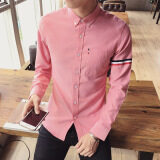 ขาย เกาหลีวัยรุ่นชายเสื้อแขนยาวเสื้อเชิ้ต สีชมพู Unbranded Generic ใน ฮ่องกง