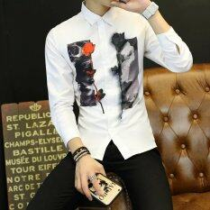 ราคา เกาหลีแขนยาวบางฤดูใบไม้ร่วงเสื้อผู้ชายเสื้อ สีโอ๊คสีขาว ฮ่องกง