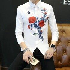 ราคา เกาหลีแขนยาวบางฤดูใบไม้ร่วงเสื้อผู้ชายเสื้อ สีแดง ฮ่องกง
