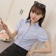 ราคา สีขาวคอวีผอมหญิงเสื้อชีฟองเสื้อ สีฟ้า พัฟ สีฟ้า พัฟ ราคาถูกที่สุด