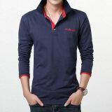 ราคา เสื้อยืดบุรุษแขนยาวปกพับเข้ารูปสไตล์เกาหลี ไพลินสีแดงรูคอ ราคาถูกที่สุด