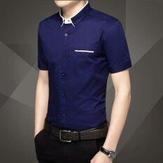 ขาย เสื้อลำลองเสื้อสีขาวผู้ชายแขนสั้น สีน้ำเงินเข้ม Other ถูก